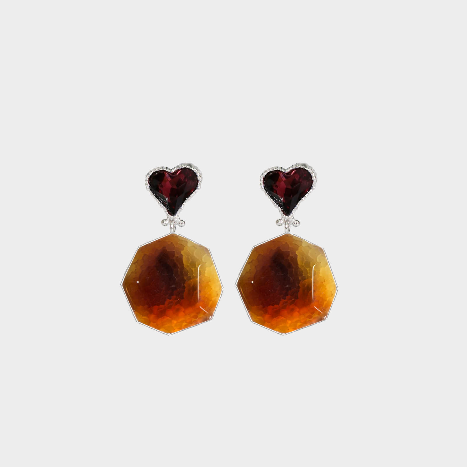 Bronze Heart Stone Earrings