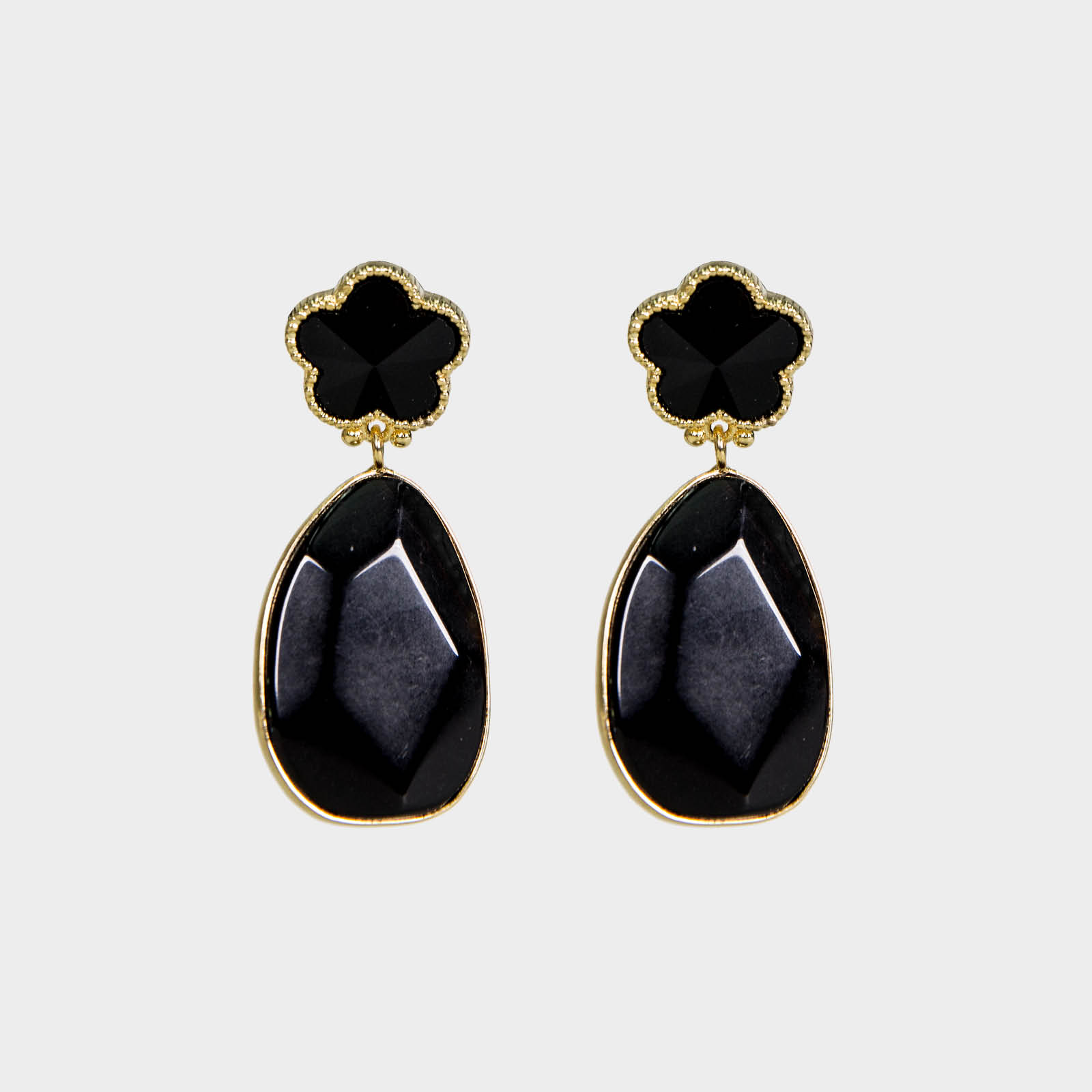Black Flower Stone Earrings