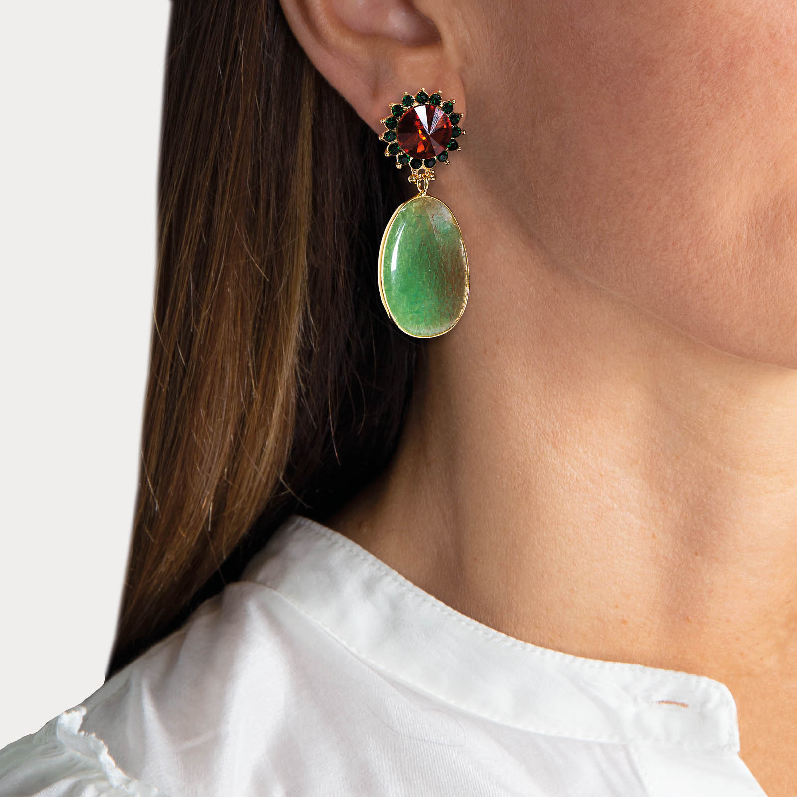 Green Monroe Stone Earrings