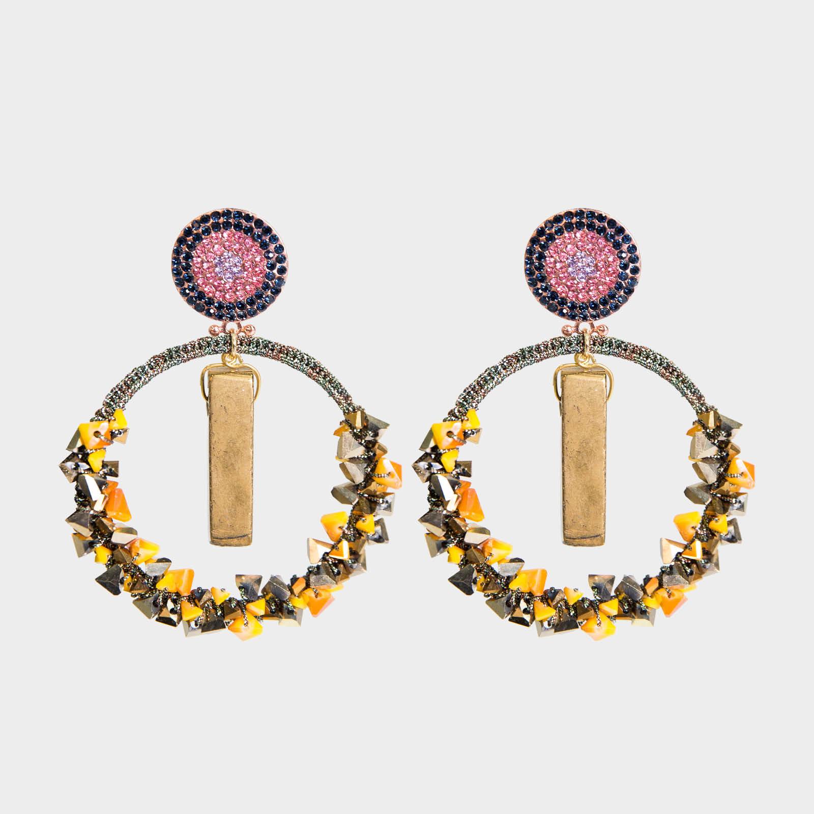 Precious Agate Hoop Earrings Ochre