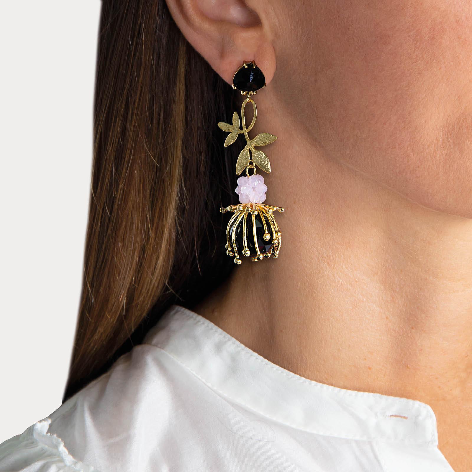 Hidden Flowers Black Earrings