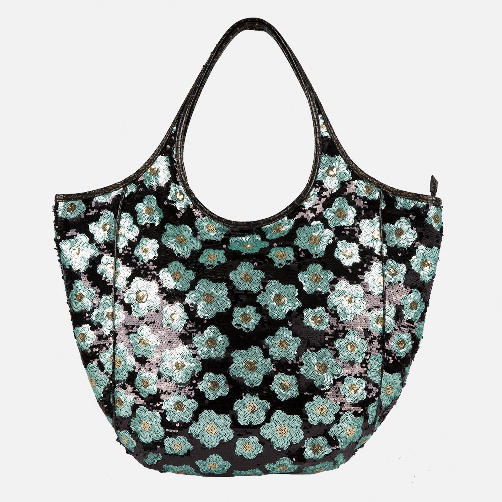 Shoulder Bag Glamour Green Flowers