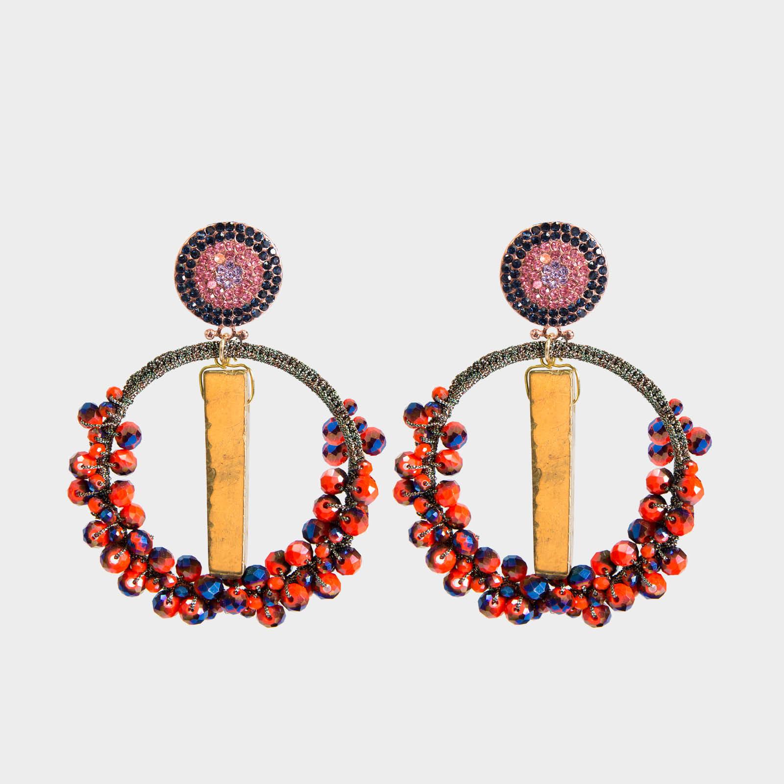 Precious  Agate Hoop Earrings Orange
