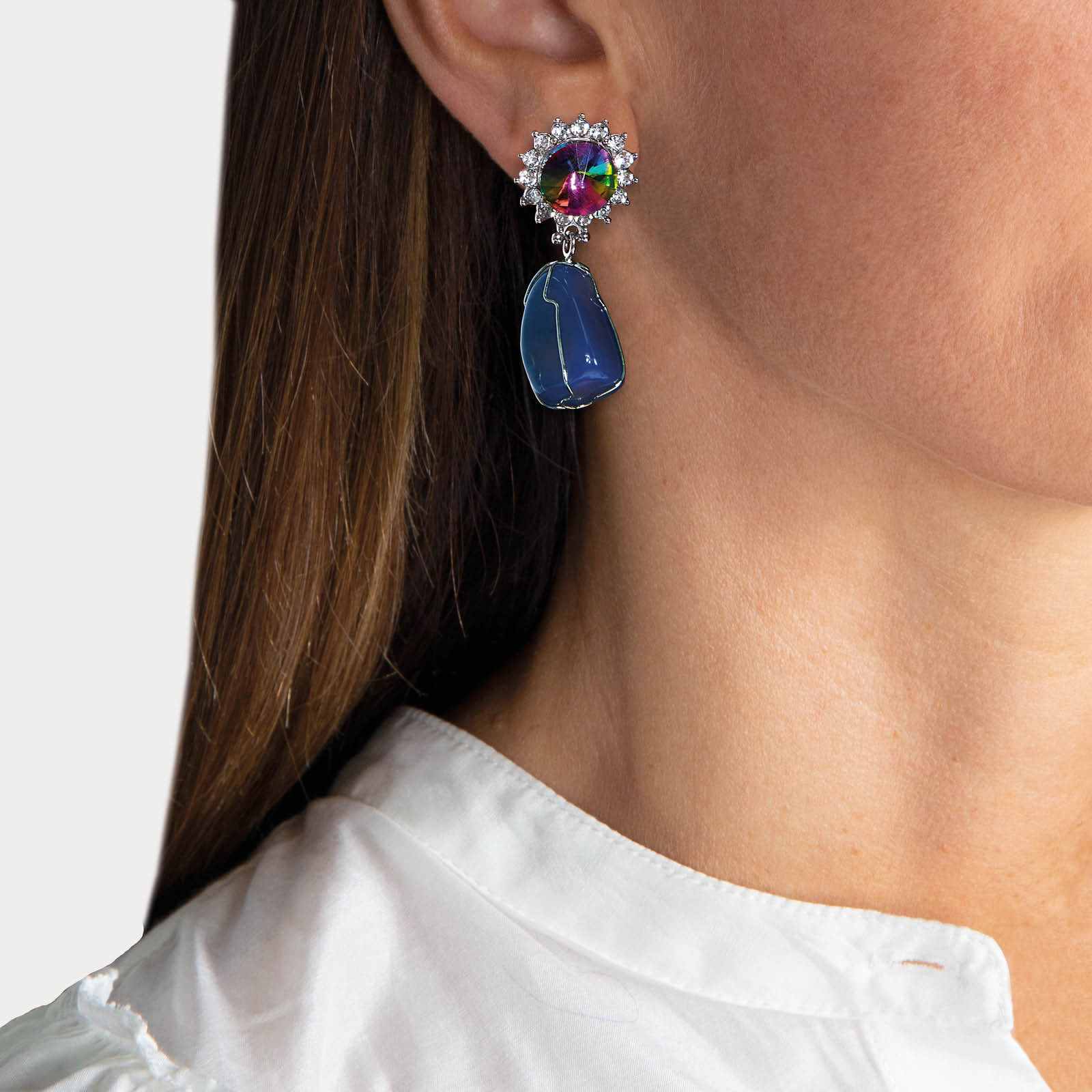 Colorful Marilyn Agate Nature Stone Earrings