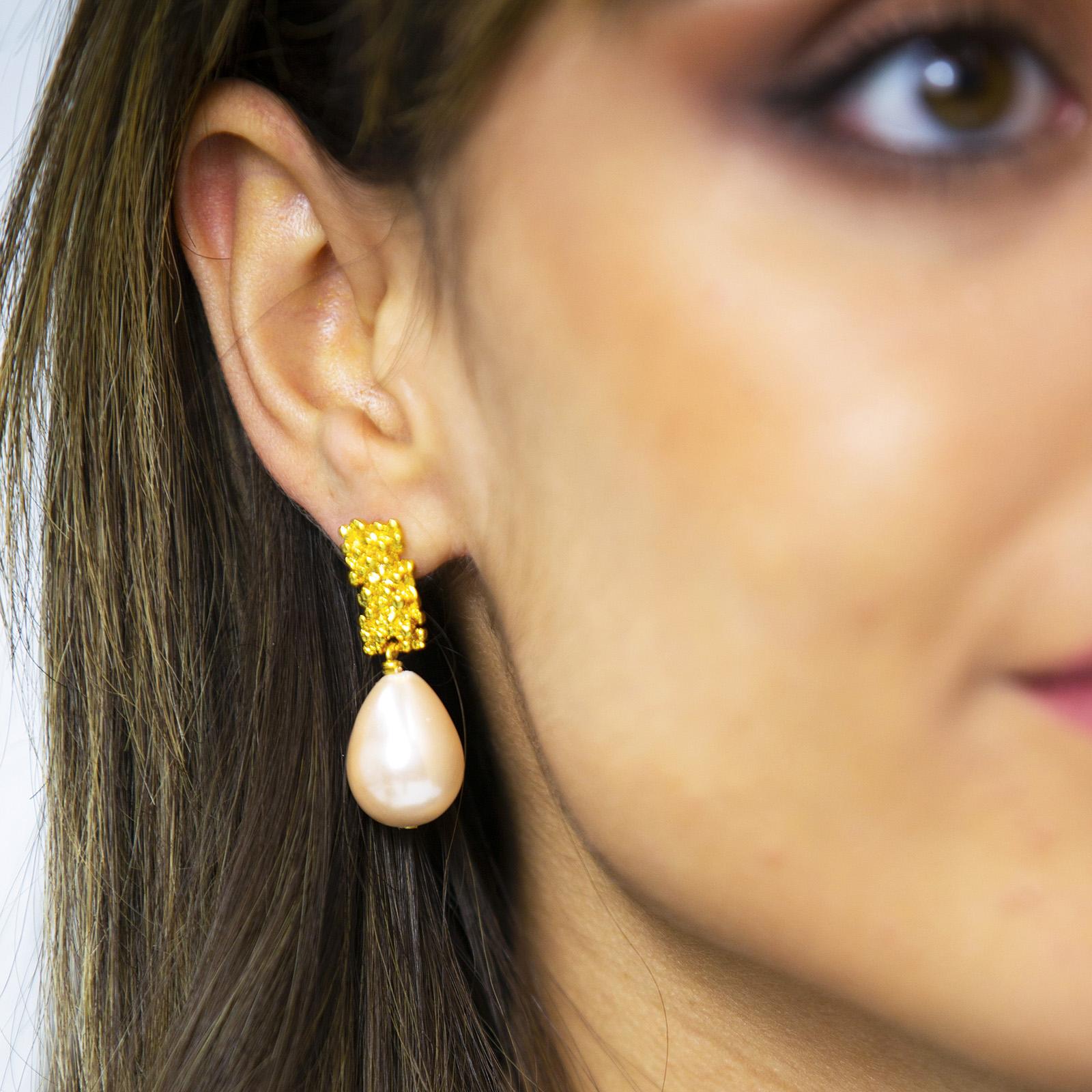 Royal Pearl Earrings Pink