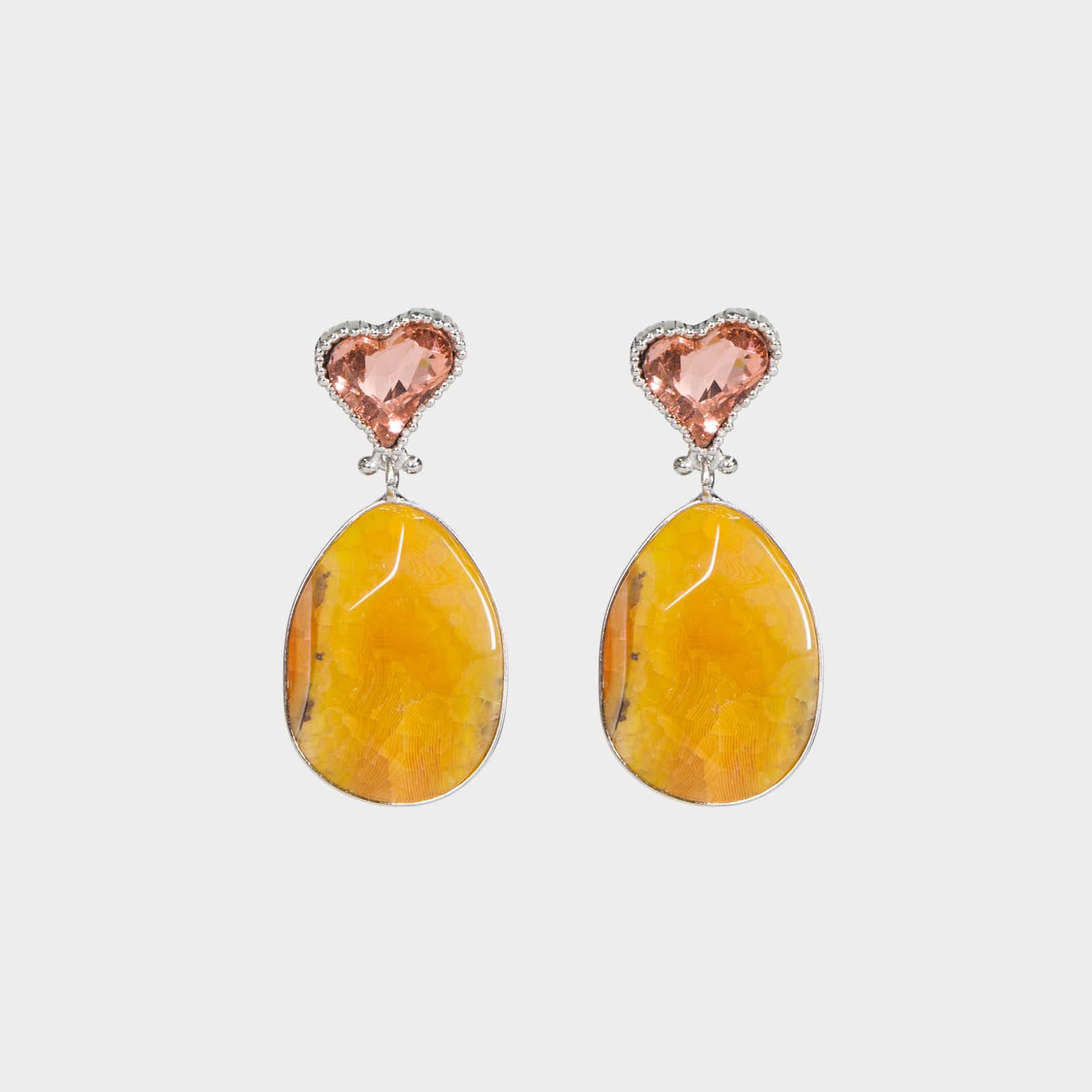 Pink Heart Stone Earrings