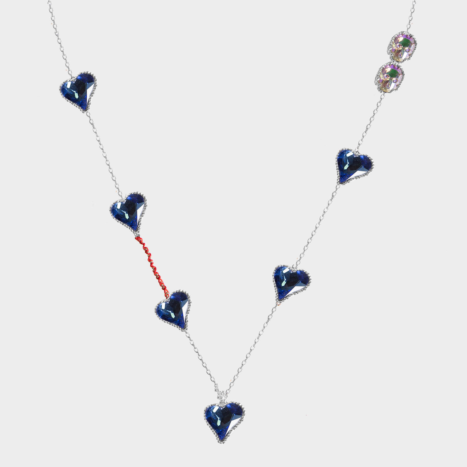 Multi Blue Heart Necklace