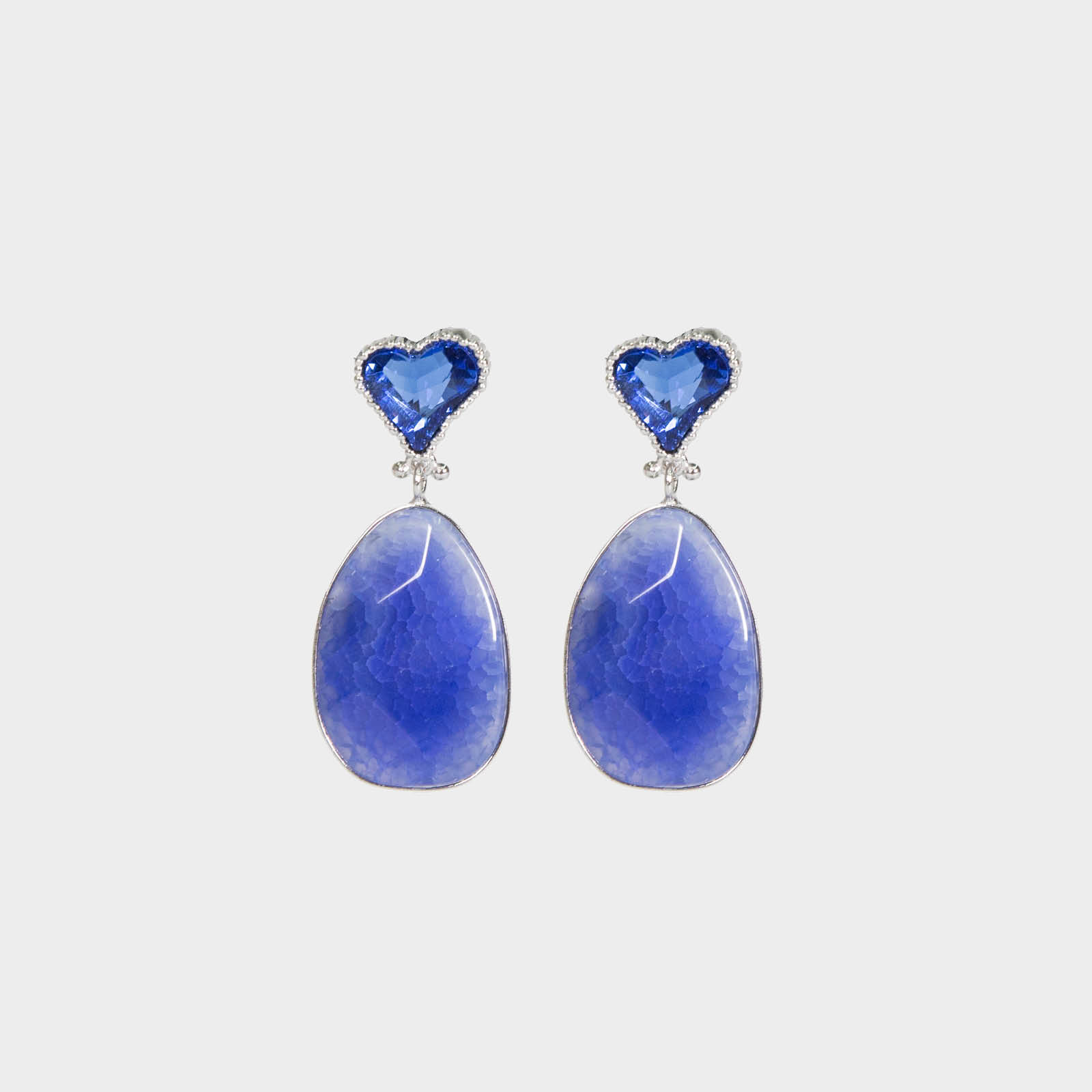 Blue Heart Stone Earrings
