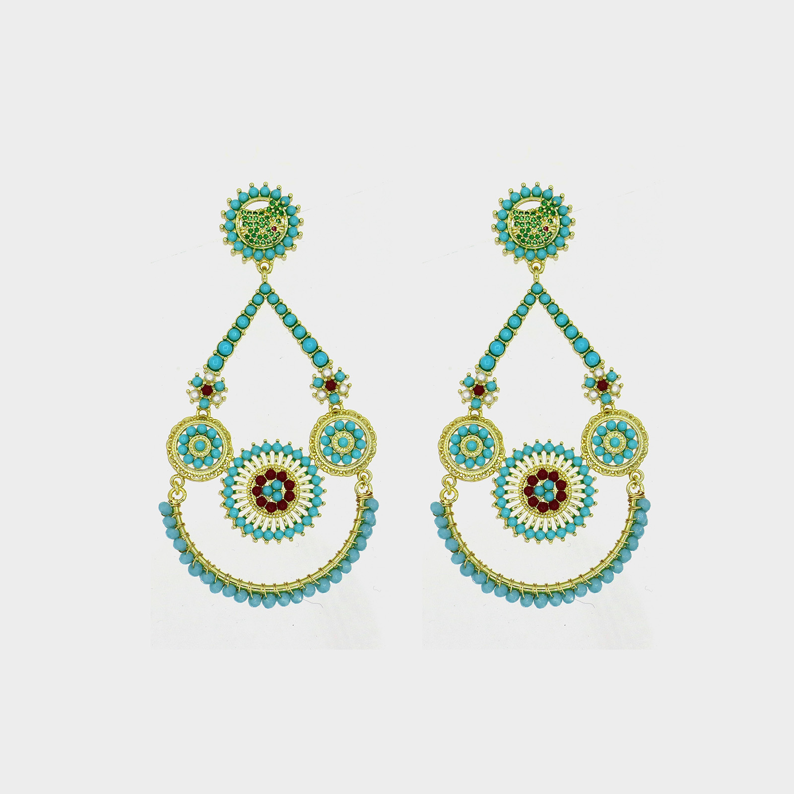 Amazon Ibiza Flowers Earring Turquoise
