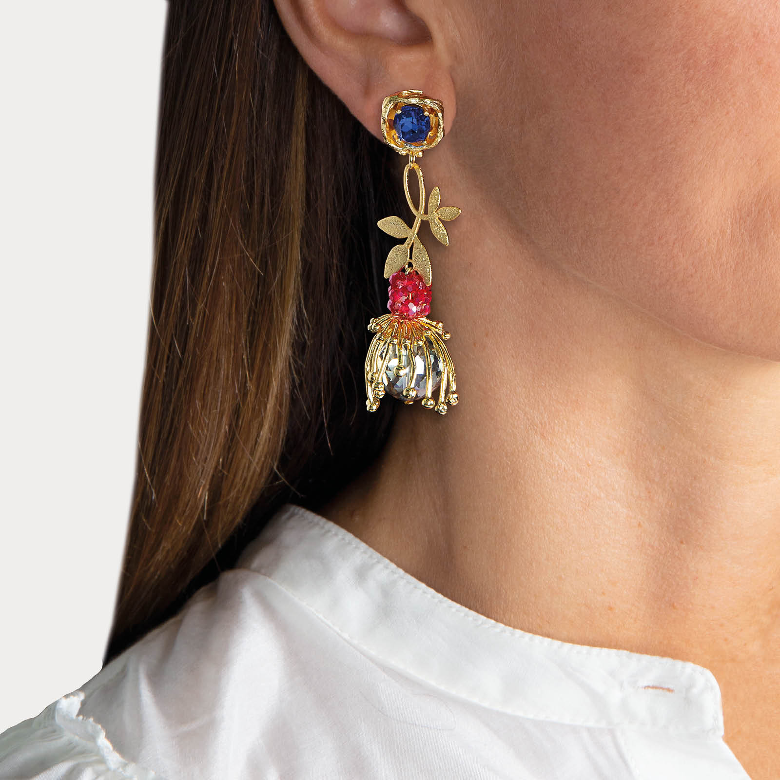 Hidden Flowers Blue Earrings