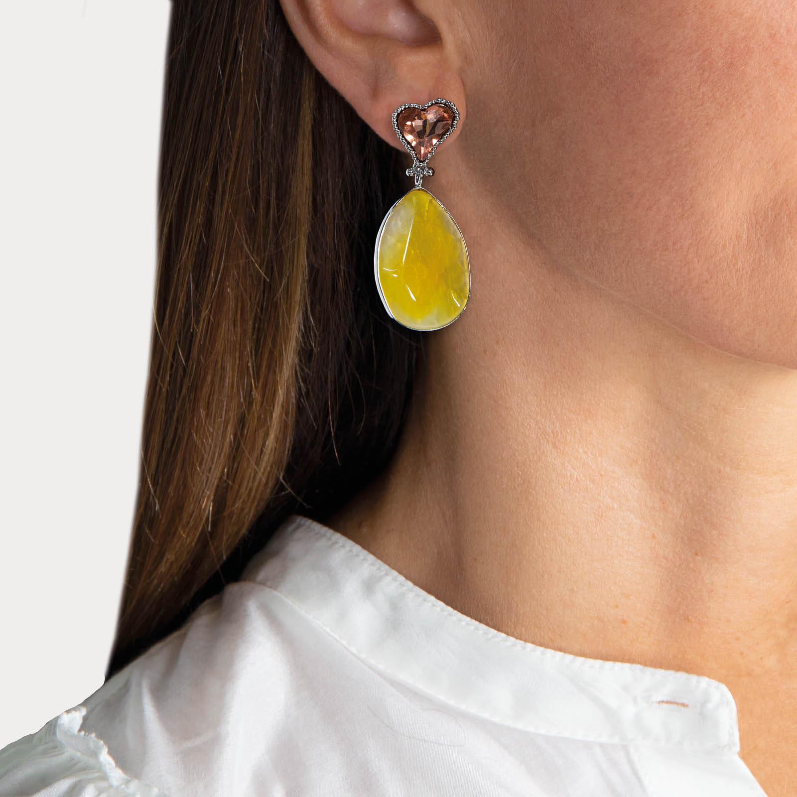Yellow  Heart Agate Nature Stone Earrings