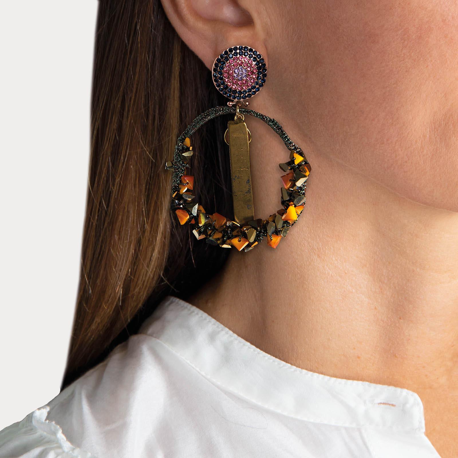 Honey Agate Hoop Earrings