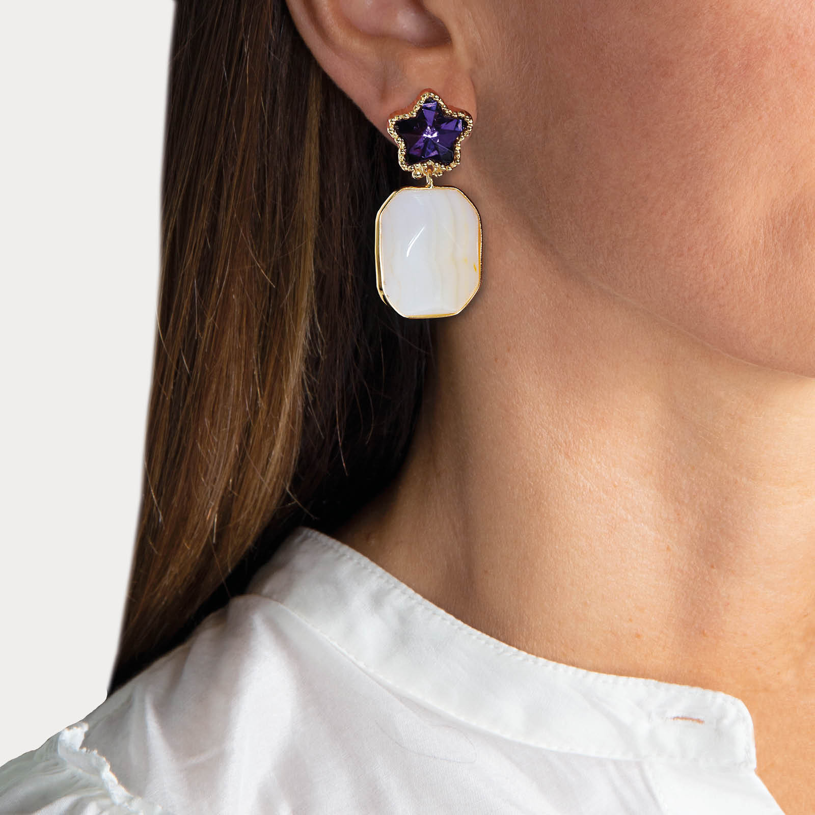 Purple Star Stone Earrings