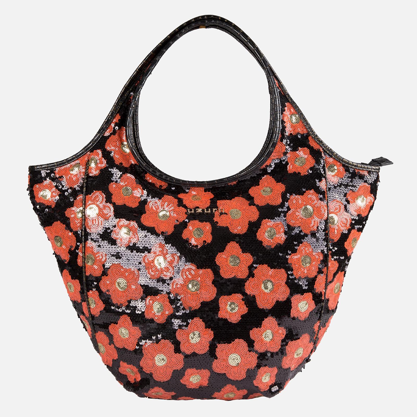 Shoulder Bag Glamour Orange Flowers