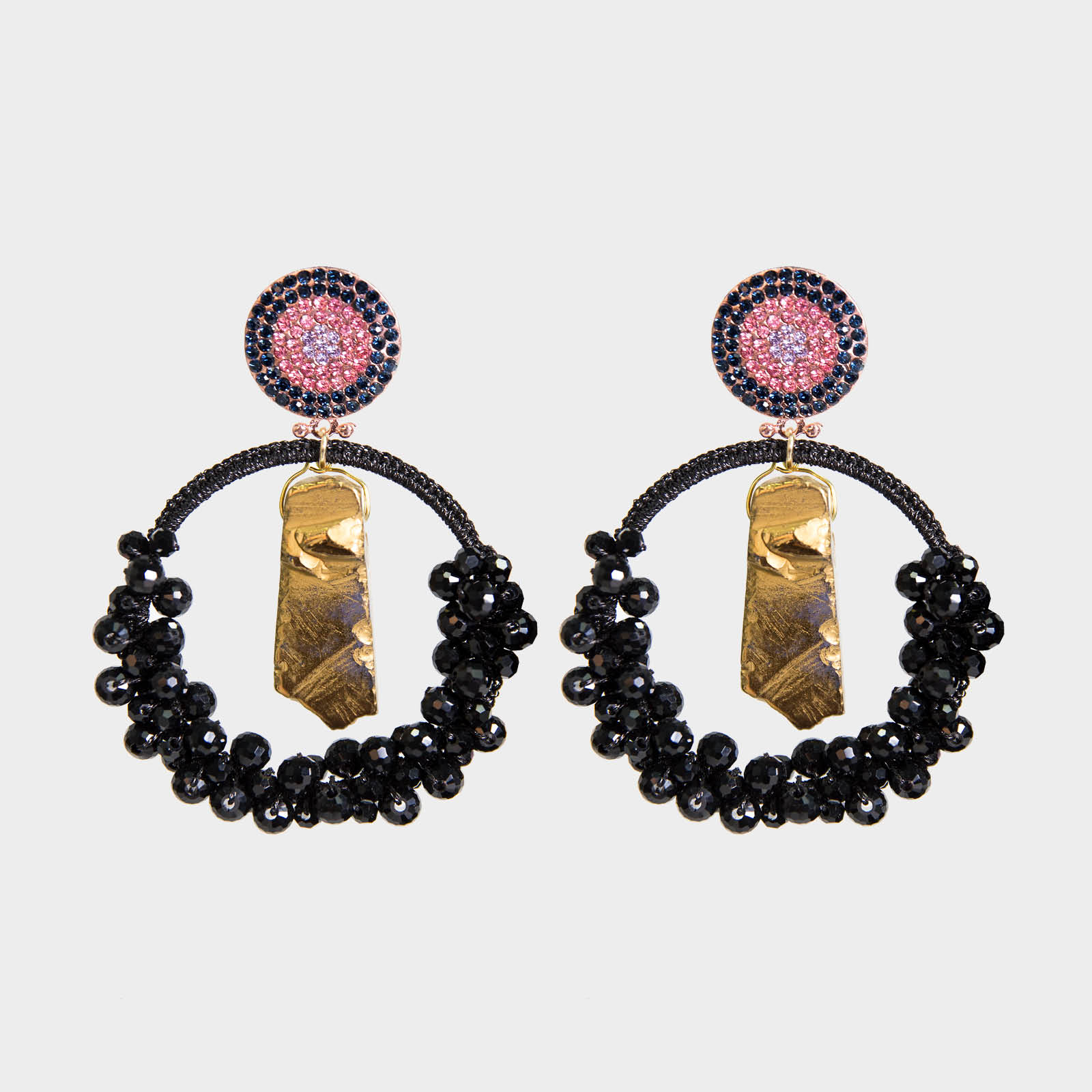 Precious Black Agate Hoop Earrings