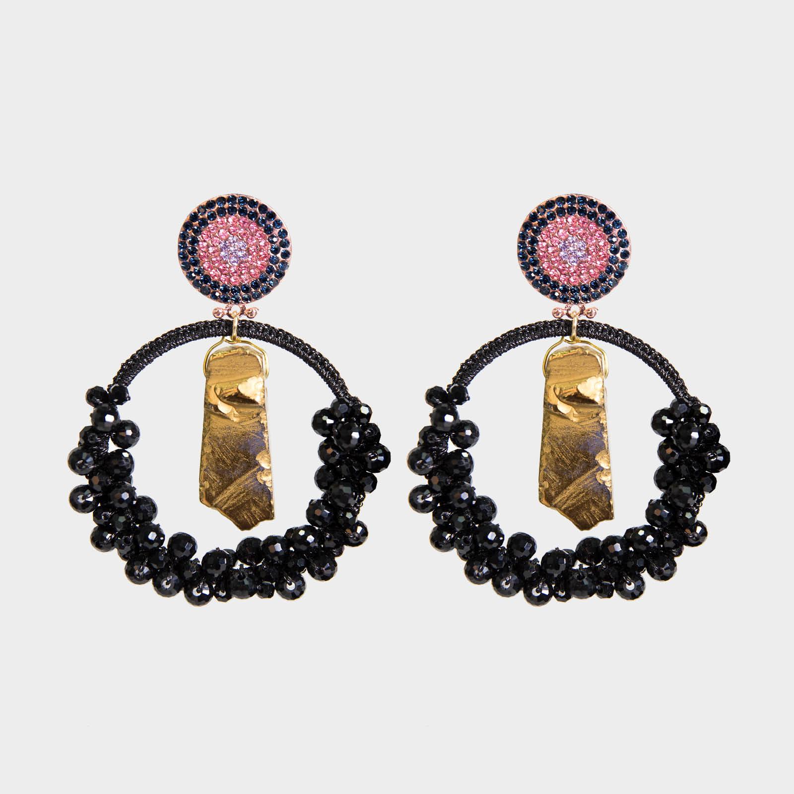 Precious  Agate Hoop Earrings Black