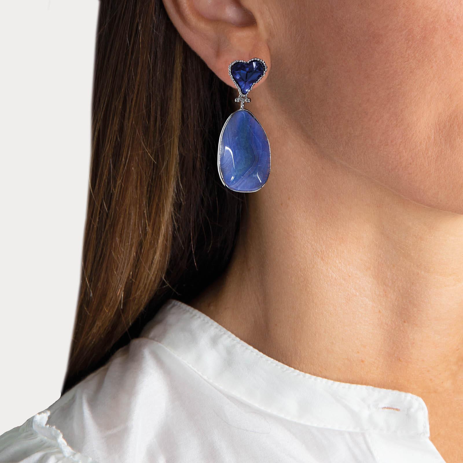 Blue Heart Stone Earrings