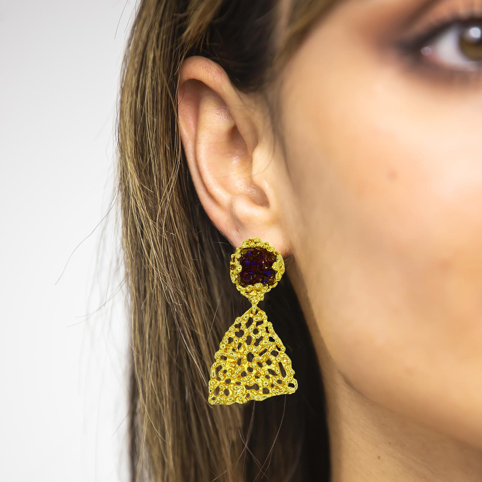 Rose Nature Stone Blue Earrings