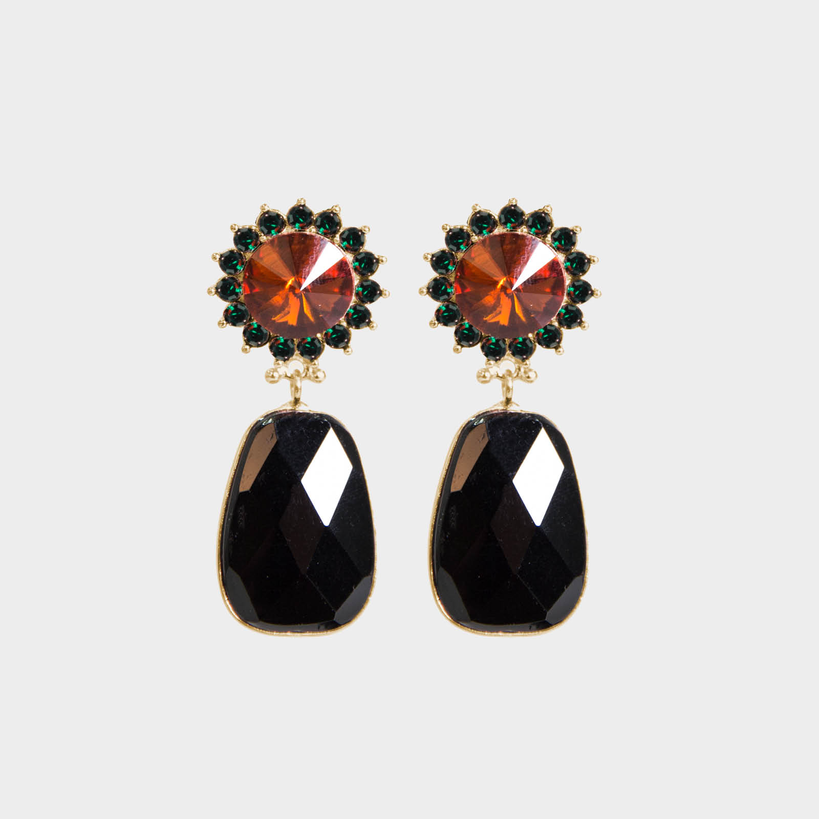 Black Monroe Stone Earrings