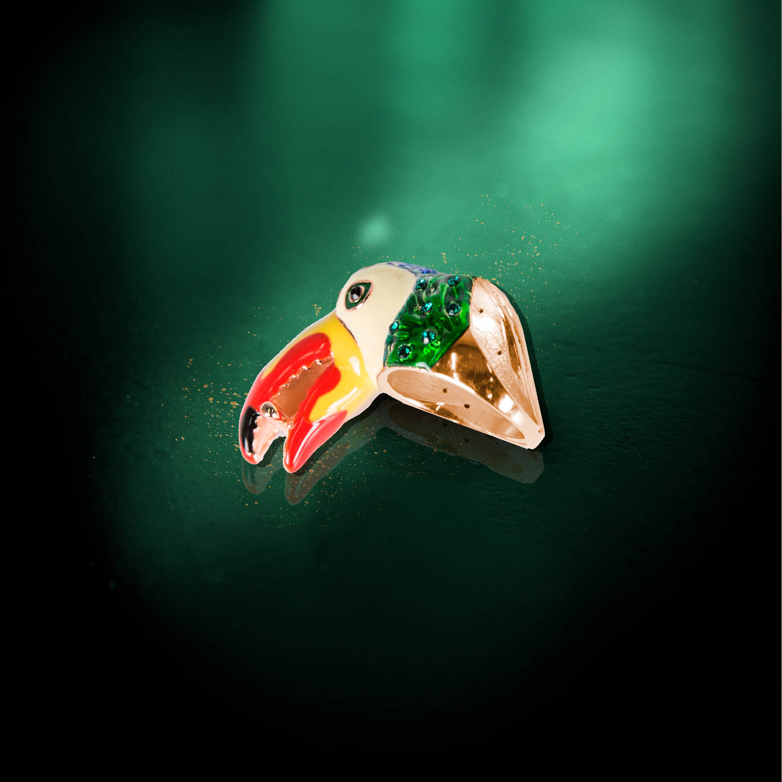 Green Amazon Toucan Ring