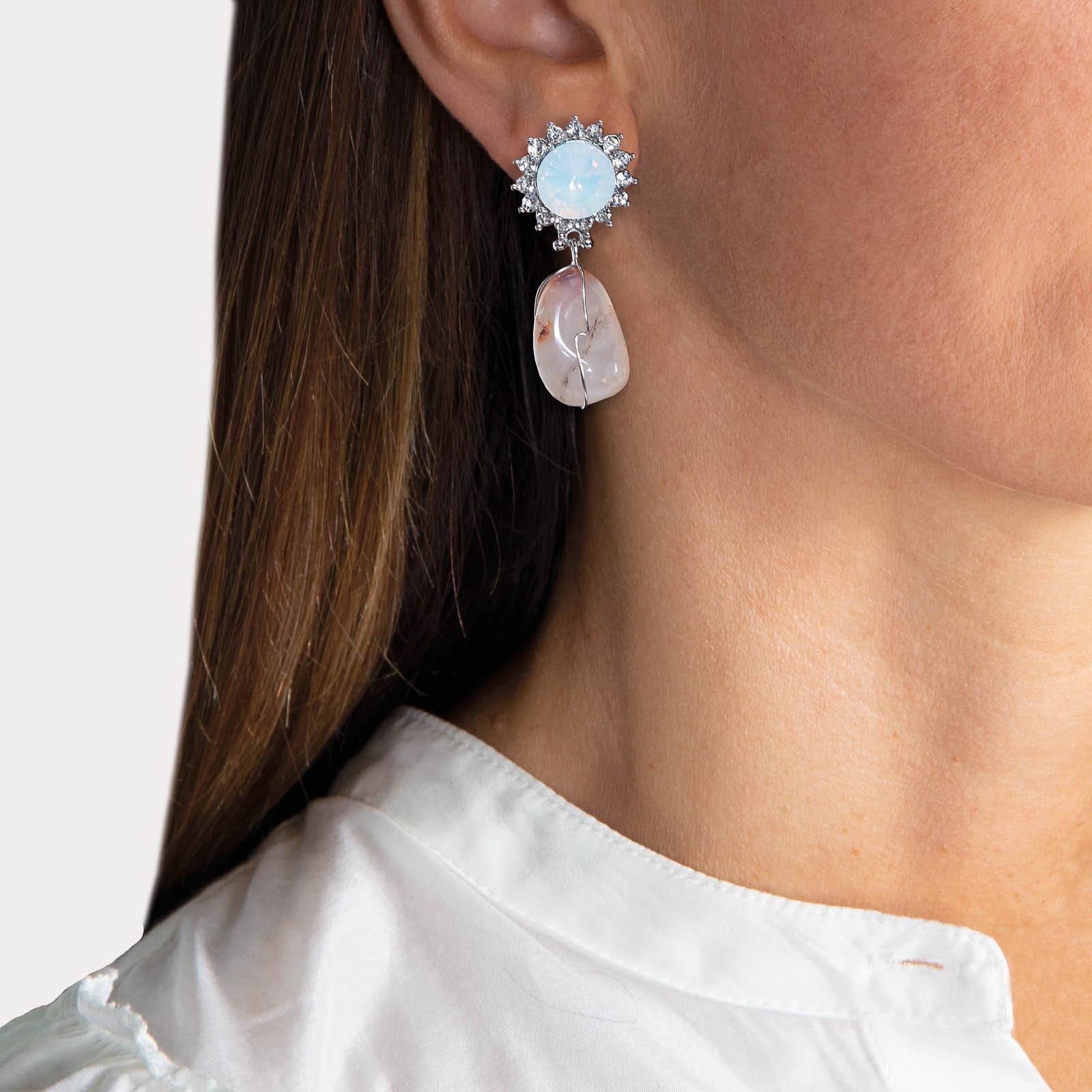 Pearl Marilyn Agate Nature Stone Earrings