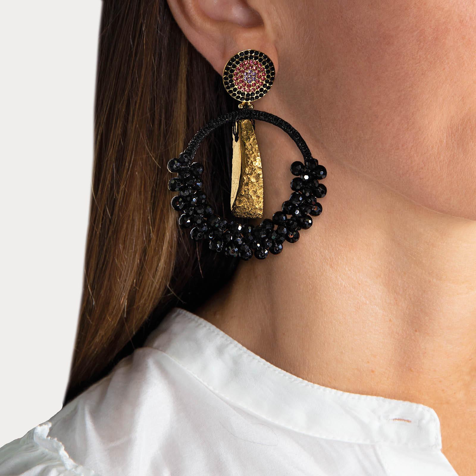 Precious Black Agate Hoop Earrings