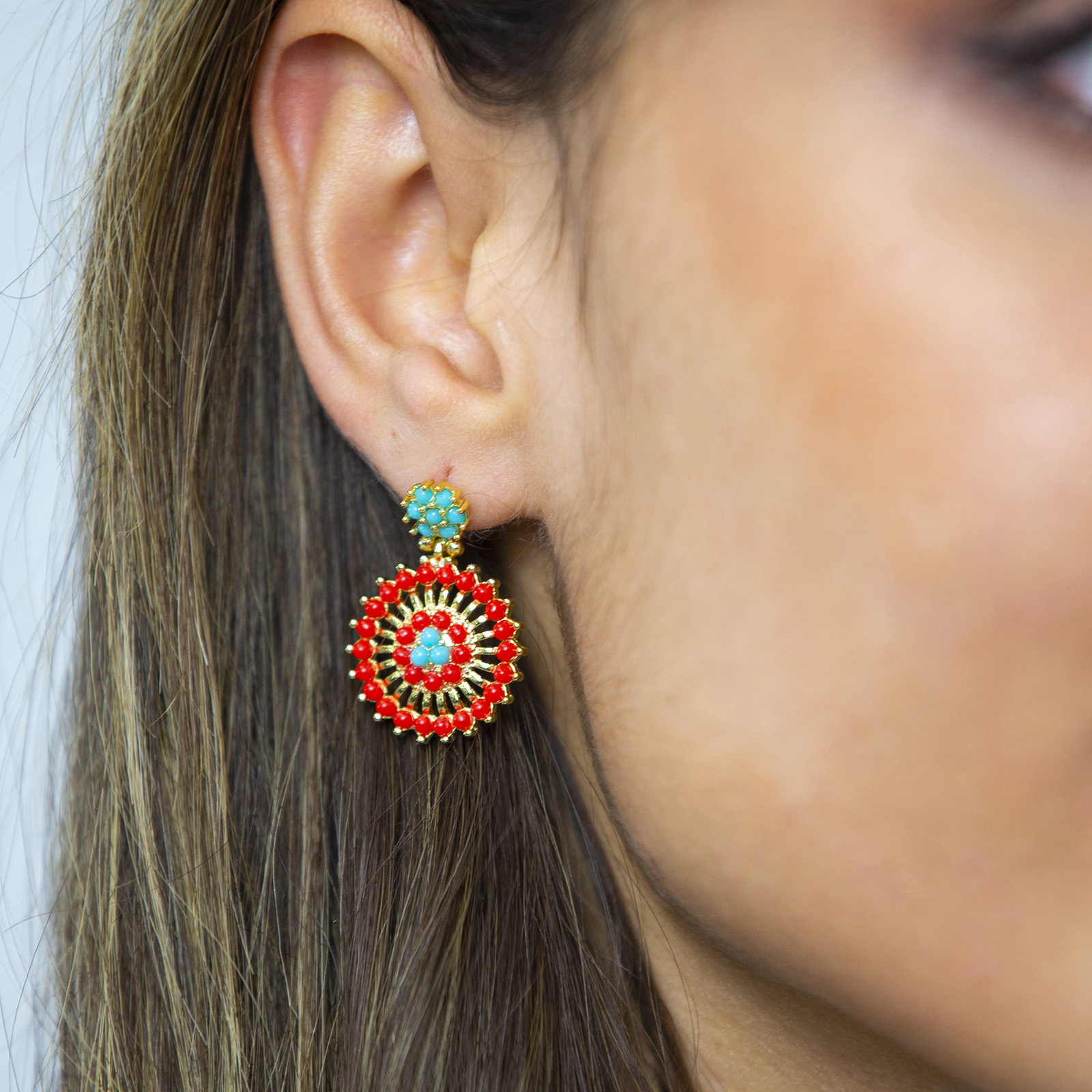Earrings Amazon Flower Red